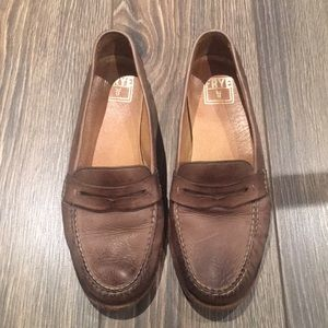 Frye Distressed Penny Loafers Size 6.5